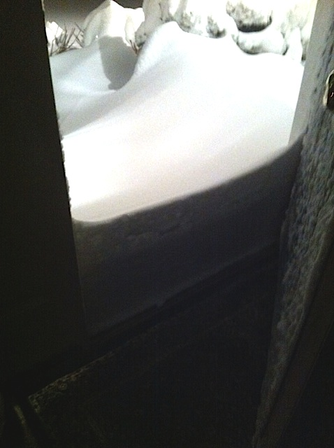 Snow in our front door